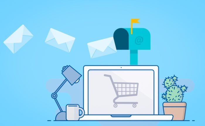 shopping cart on computer screen with emails coming in above it