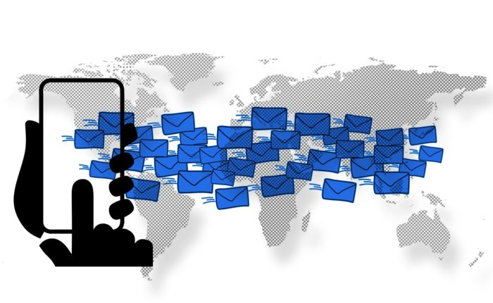 emails sending from a phone all over the world segmented by geography