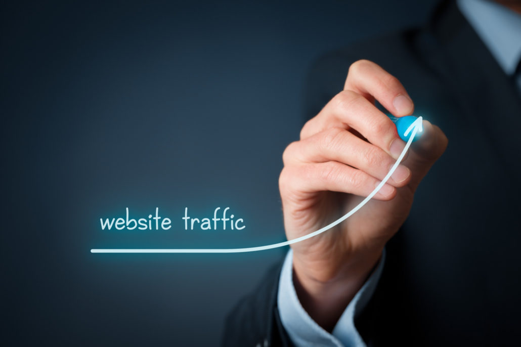 an image of increasing website traffic that was a result of looking at Google Analytics